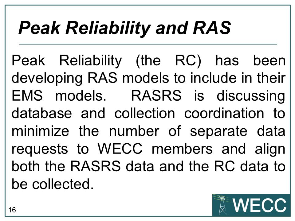 Peak Reliability and RAS