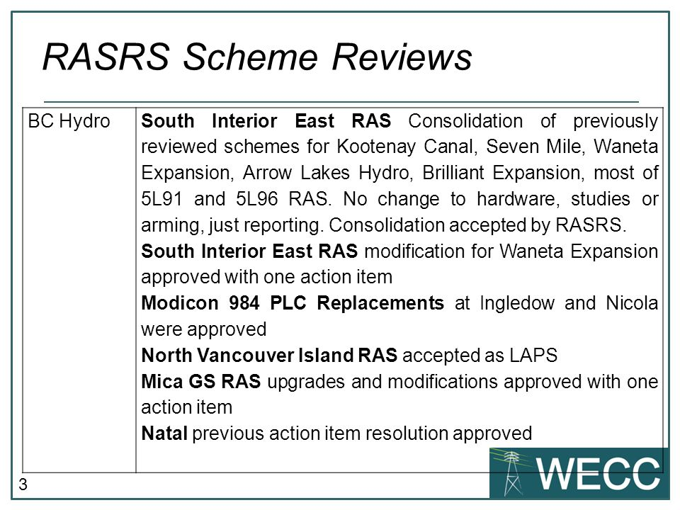 RASRS Scheme Reviews BC Hydro