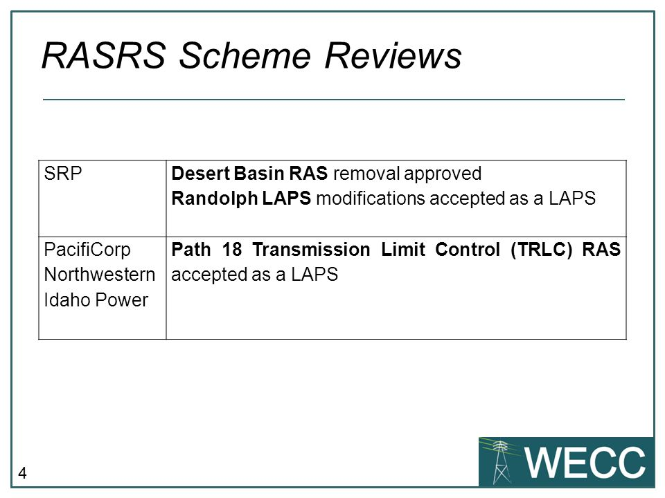 RASRS Scheme Reviews SRP Desert Basin RAS removal approved