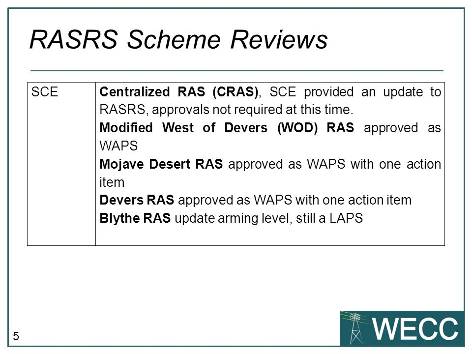 RASRS Scheme Reviews SCE