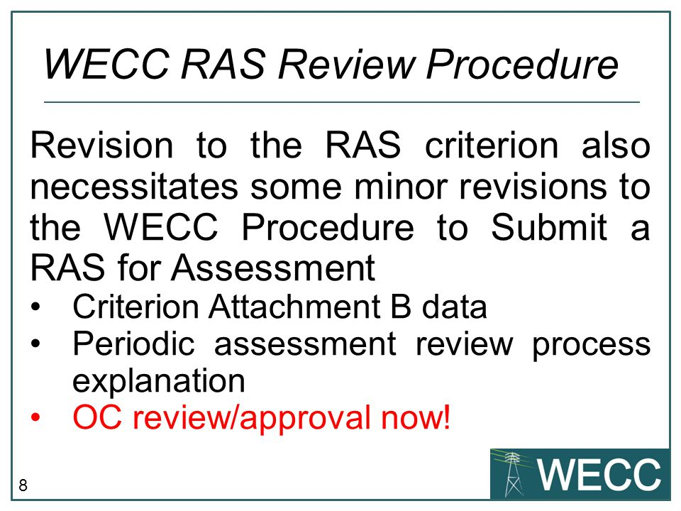 WECC RAS Review Procedure