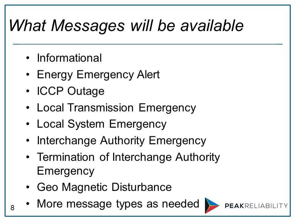 What Messages will be available