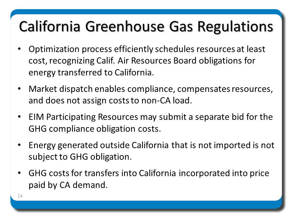 California Greenhouse Gas Regulations