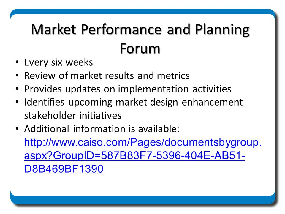 Market Performance and Planning Forum