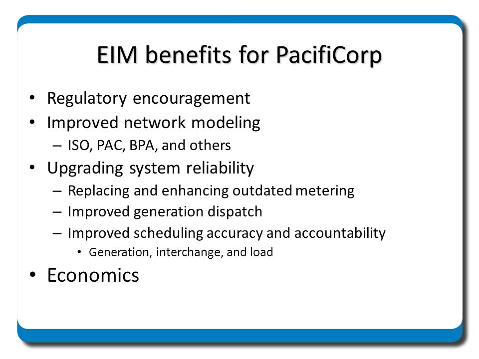 EIM benefits for PacifiCorp