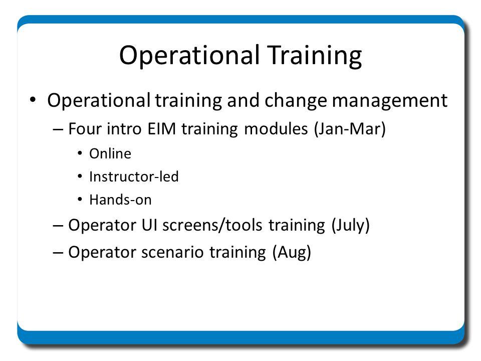 Operational Training Operational training and change management