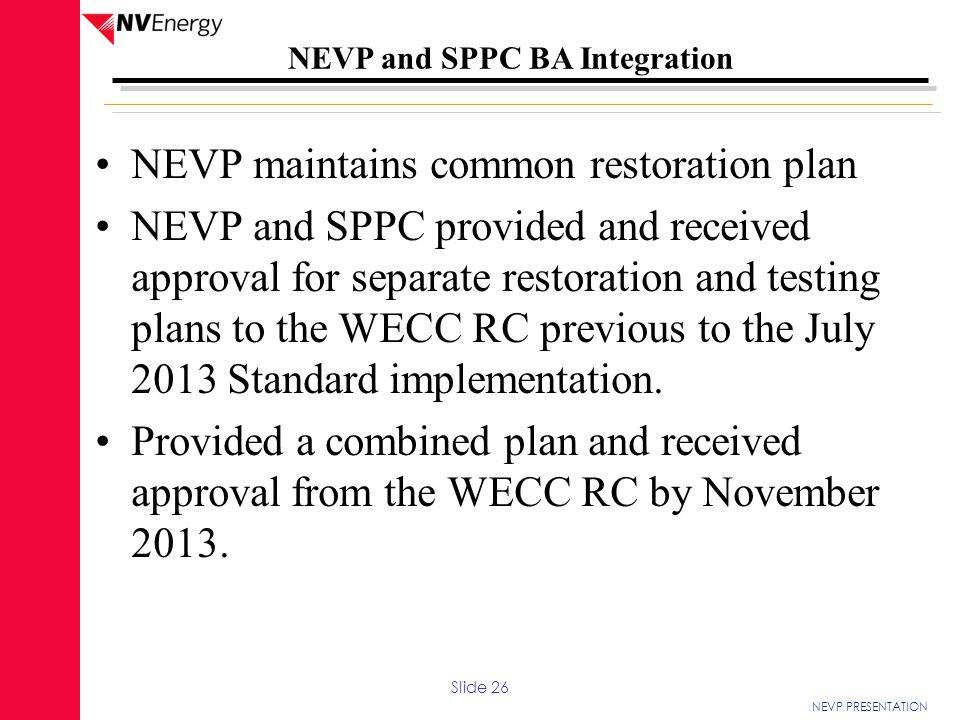 NEVP maintains common restoration plan