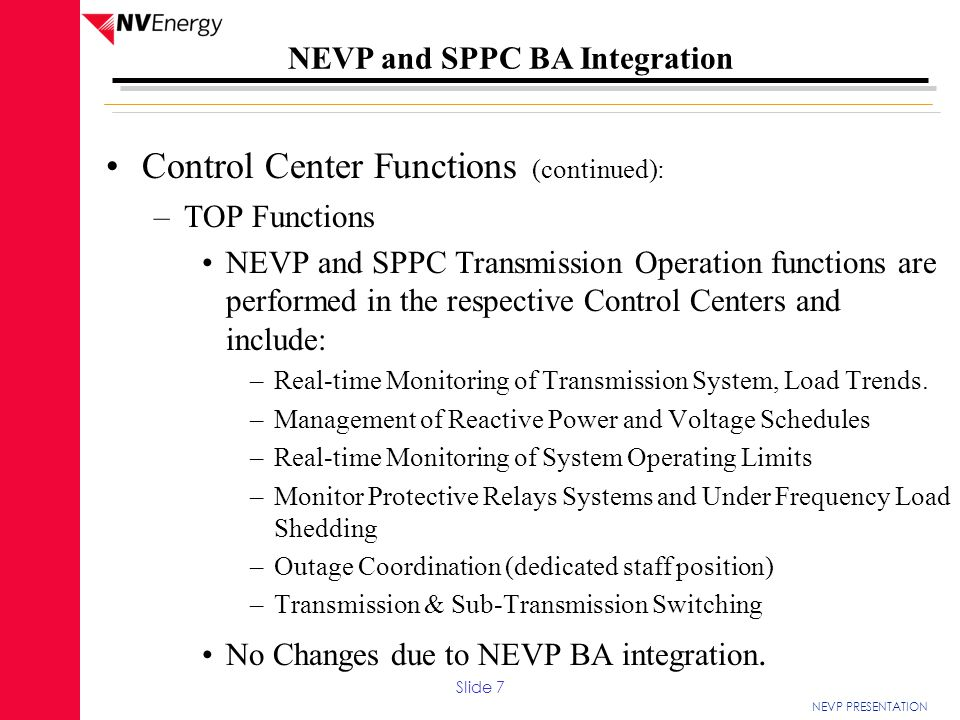Control Center Functions (continued):