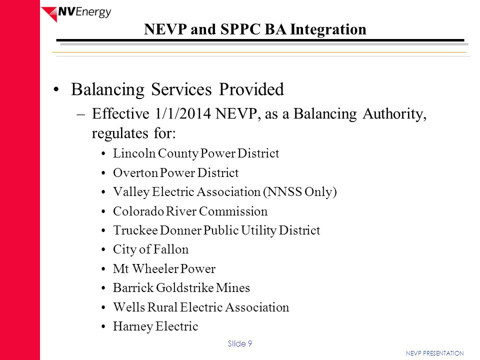Balancing Services Provided