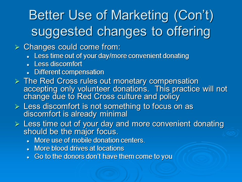Better Use of Marketing (Con't) suggested changes to offering