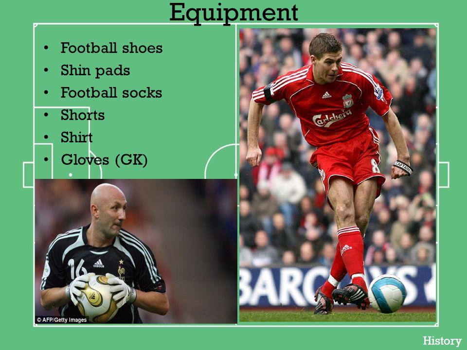 Equipment Football shoes Shin pads Football socks Shorts Shirt