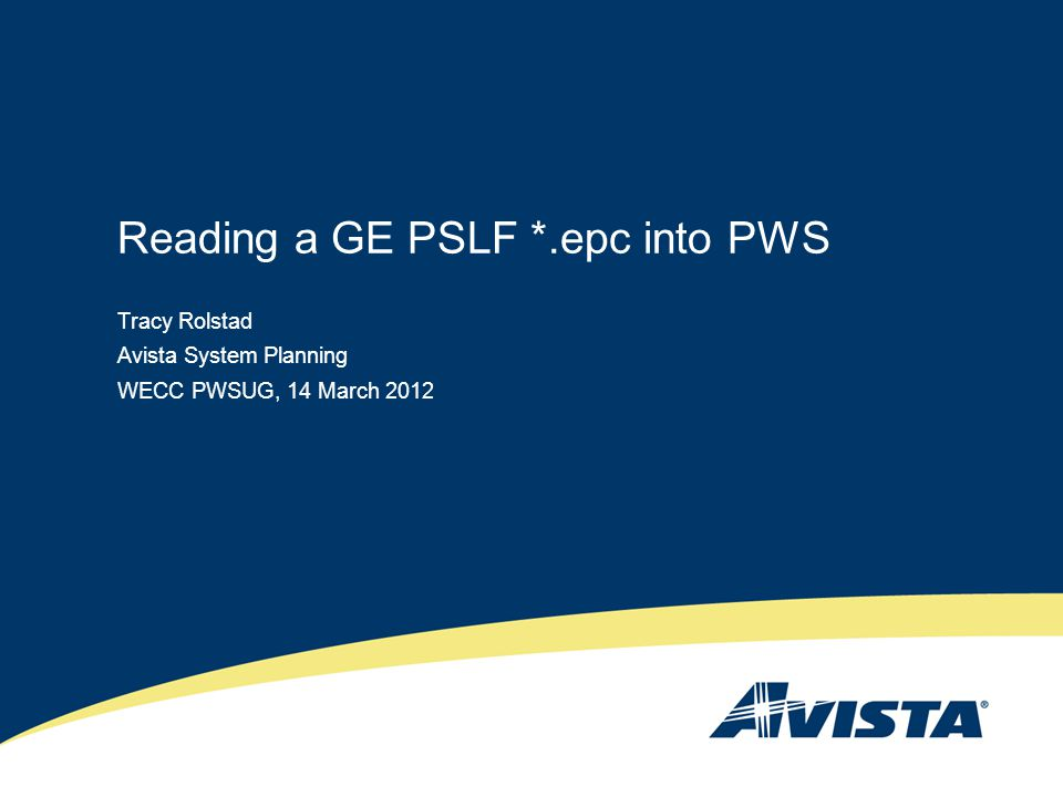 Reading a GE PSLF *.epc into PWS