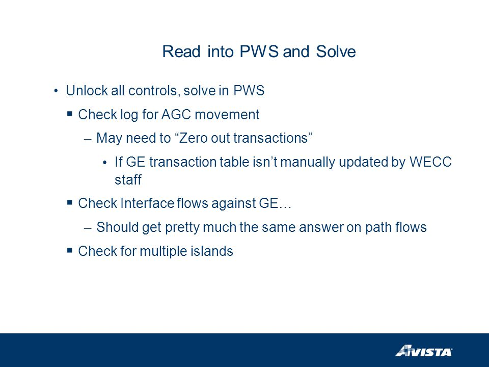 Read into PWS and Solve Unlock all controls, solve in PWS