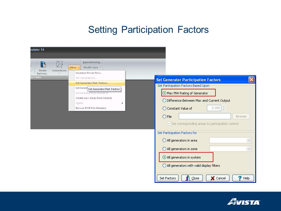 Setting Participation Factors