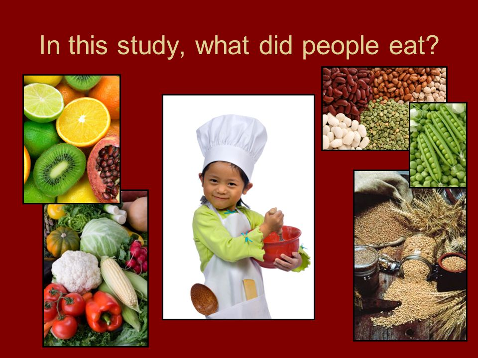 In this study, what did people eat