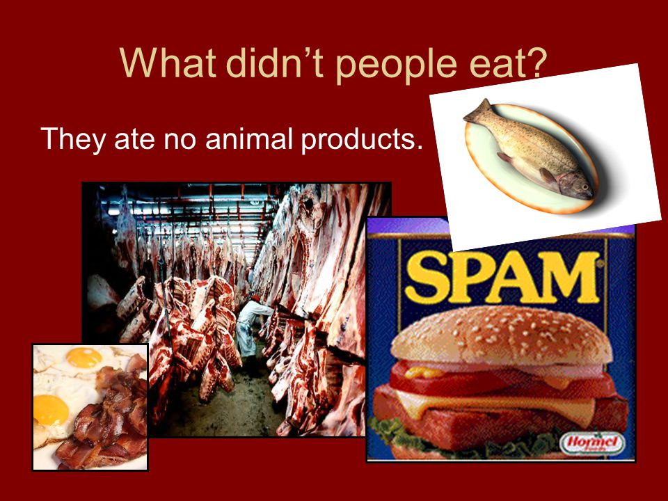 What didn't people eat They ate no animal products.