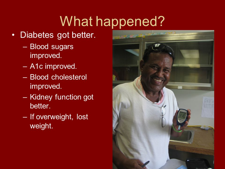 What happened Diabetes got better. Blood sugars improved.