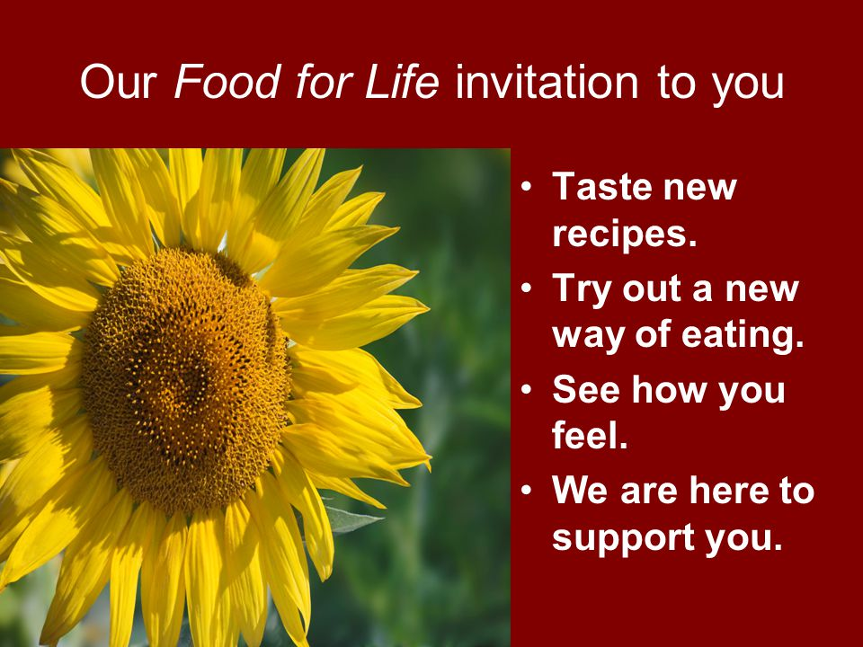 Our Food for Life invitation to you