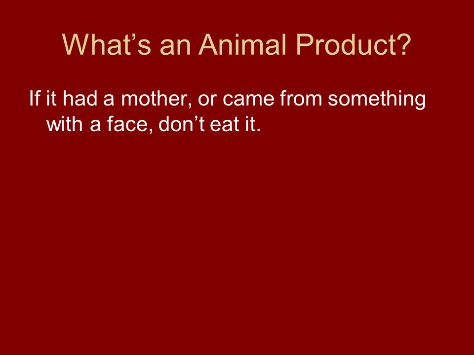 What's an Animal Product