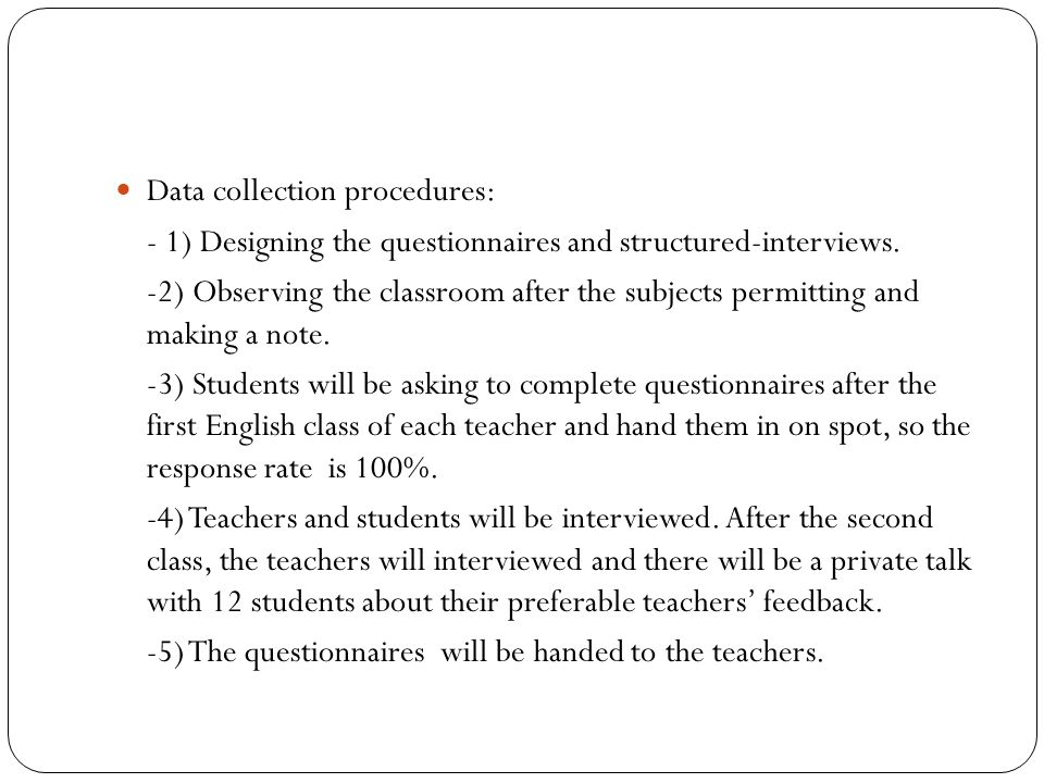 Data collection procedures: