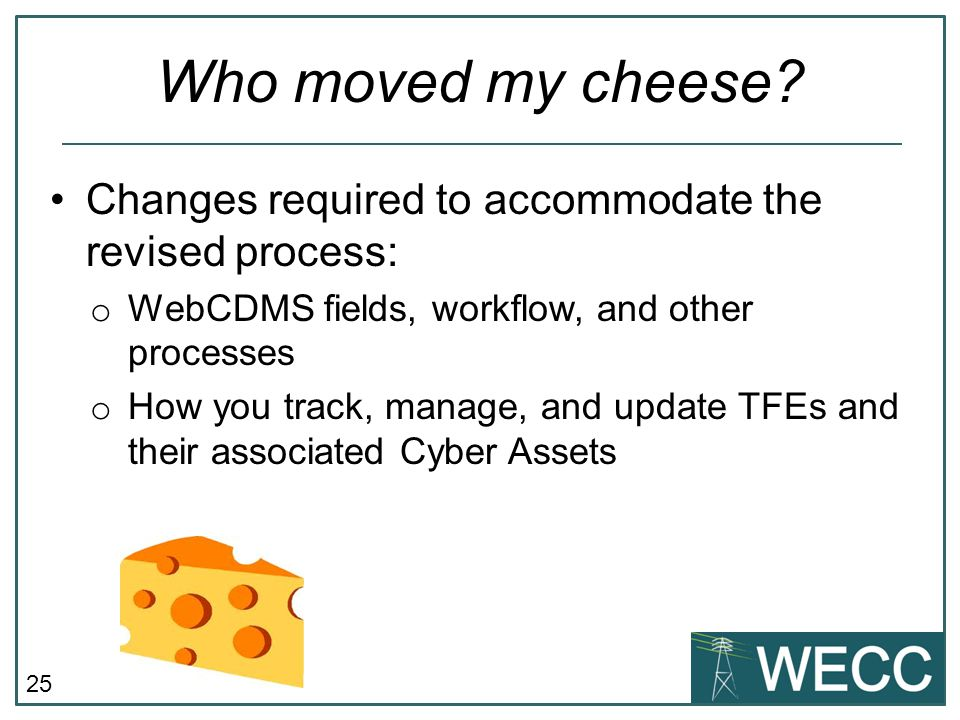 Who moved my cheese Changes required to accommodate the revised process: WebCDMS fields, workflow, and other processes.