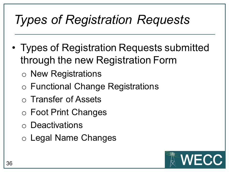 Types of Registration Requests