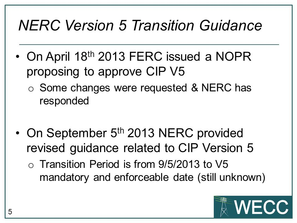 NERC Version 5 Transition Guidance