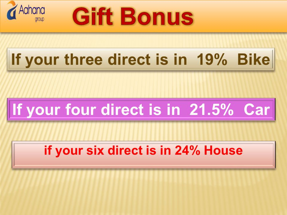 Gift Bonus If your three direct is in 19% Bike