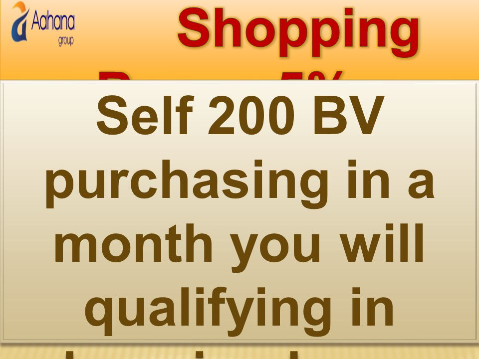 Shopping Bonus 5% Self 200 BV purchasing in a month you will qualifying in shopping bonus
