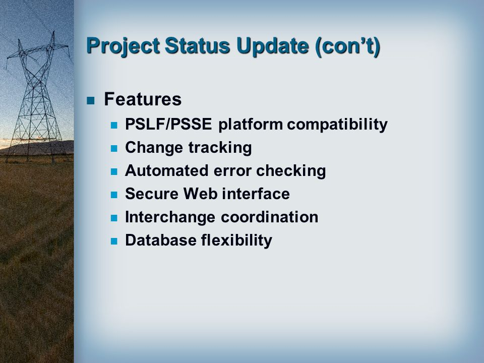 Project Status Update (con't)
