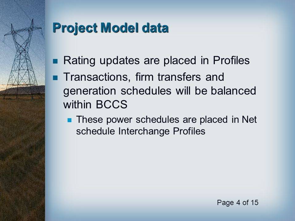 Project Model data Rating updates are placed in Profiles