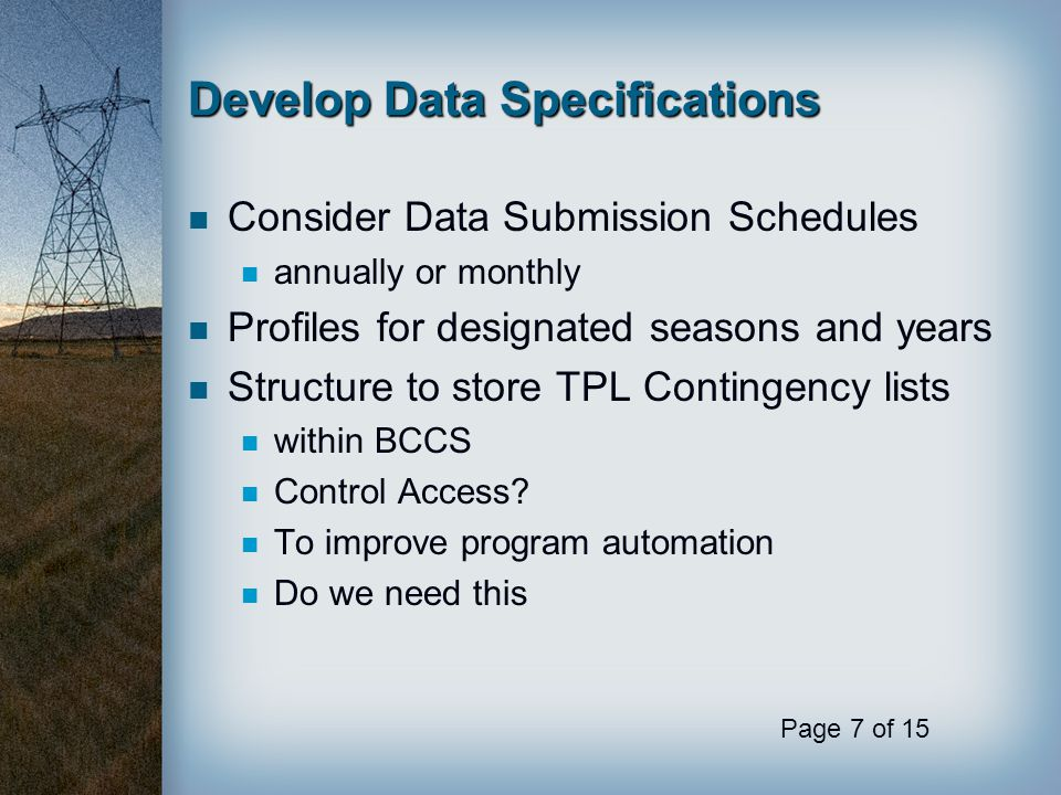 Develop Data Specifications
