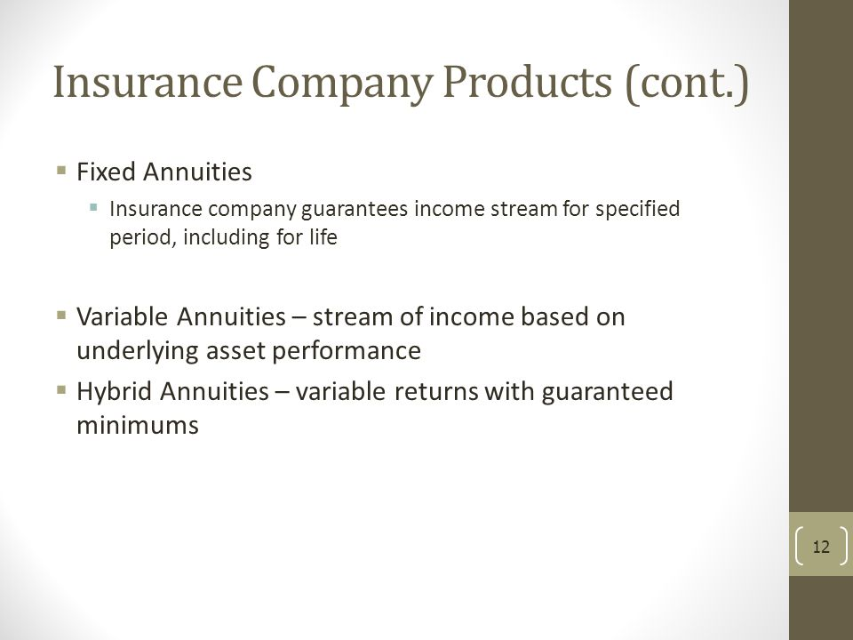 Insurance Company Products (cont.)