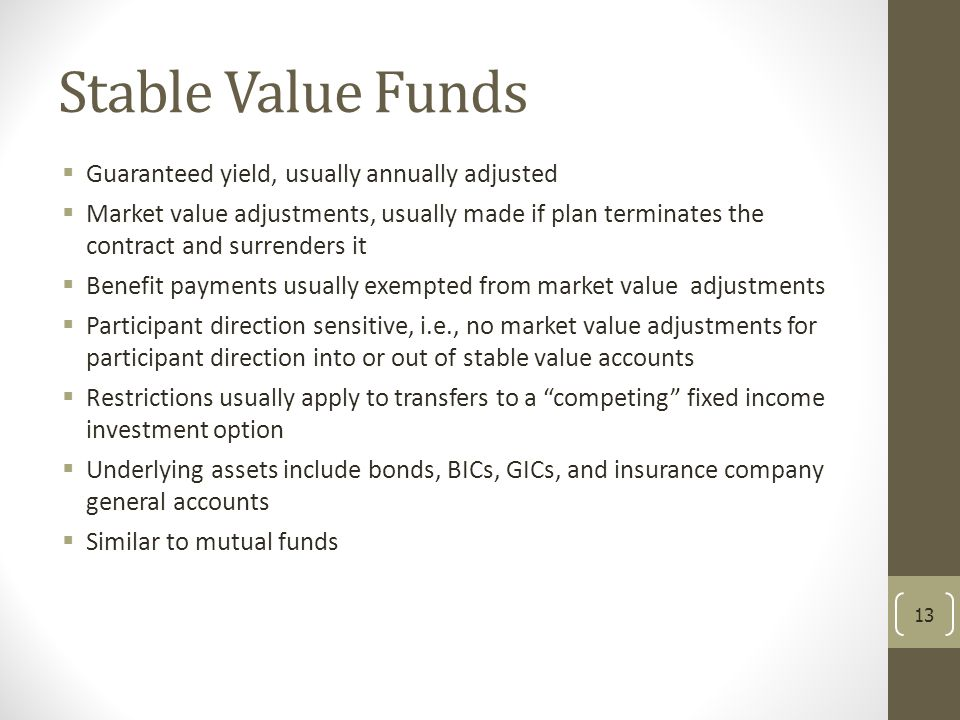 Stable Value Funds Guaranteed yield, usually annually adjusted