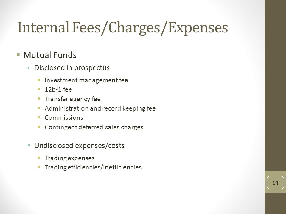 Internal Fees/Charges/Expenses