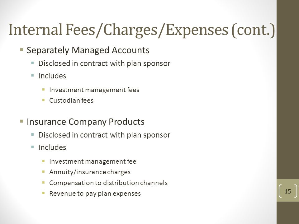 Internal Fees/Charges/Expenses (cont.)