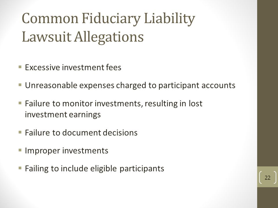 Common Fiduciary Liability Lawsuit Allegations