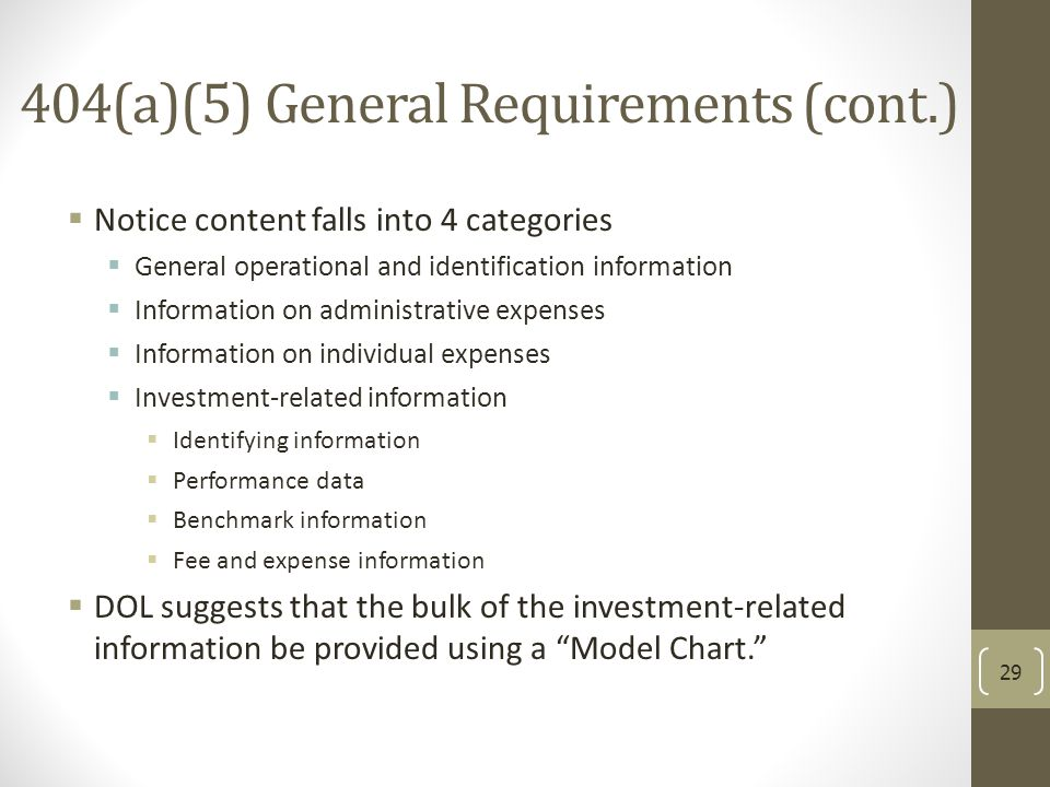 404(a)(5) General Requirements (cont.)