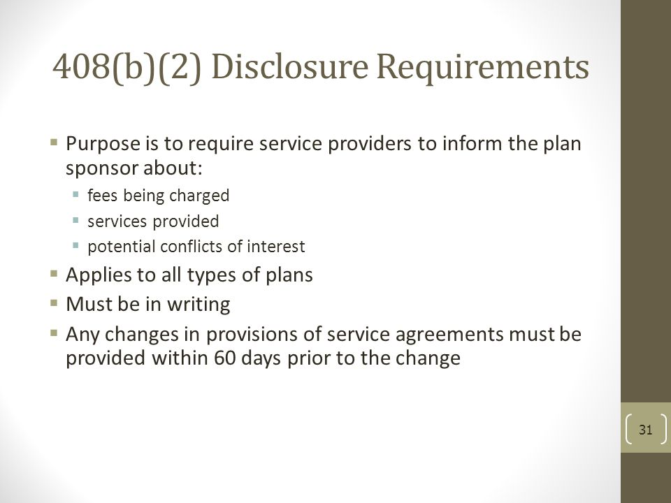 408(b)(2) Disclosure Requirements