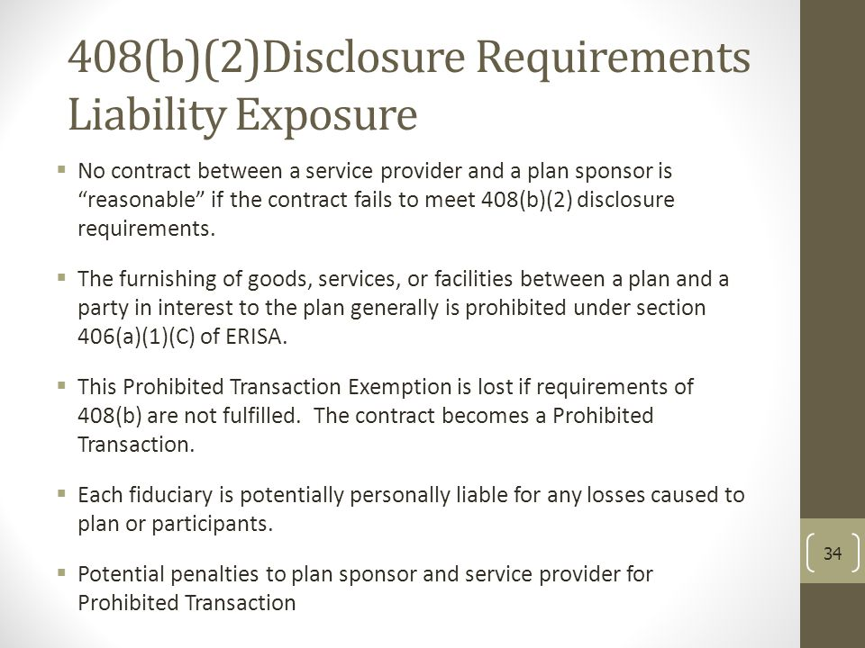 408(b)(2)Disclosure Requirements Liability Exposure