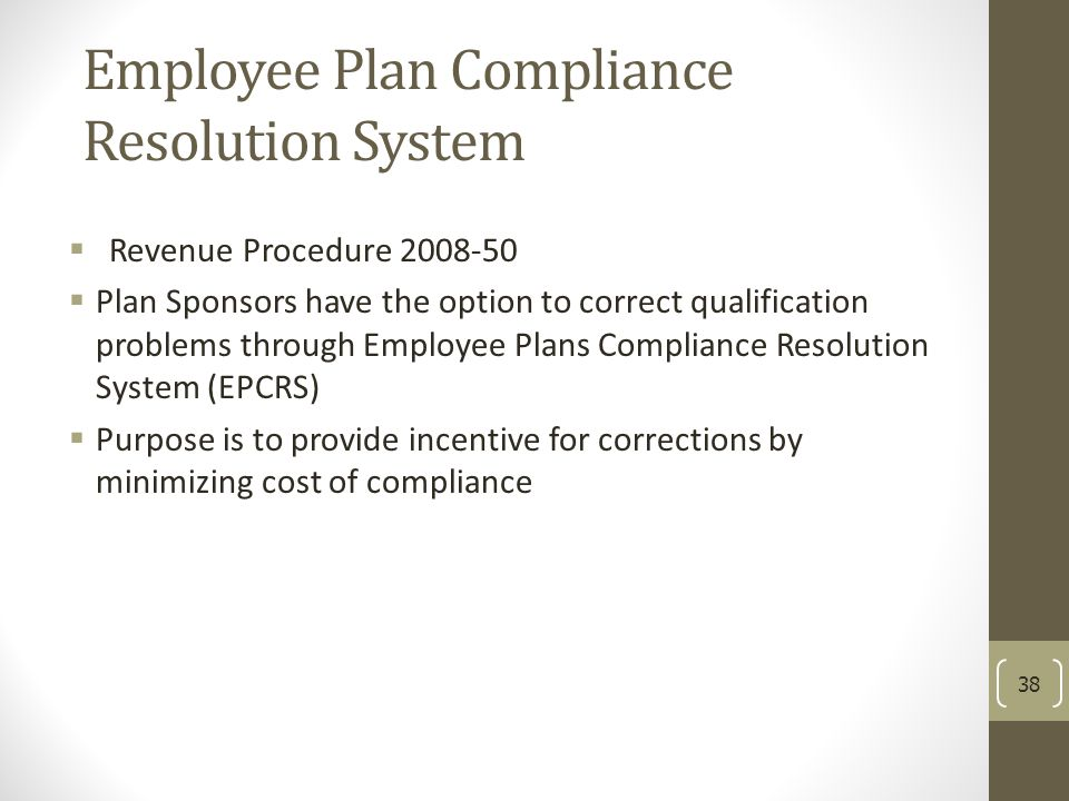 Employee Plan Compliance Resolution System