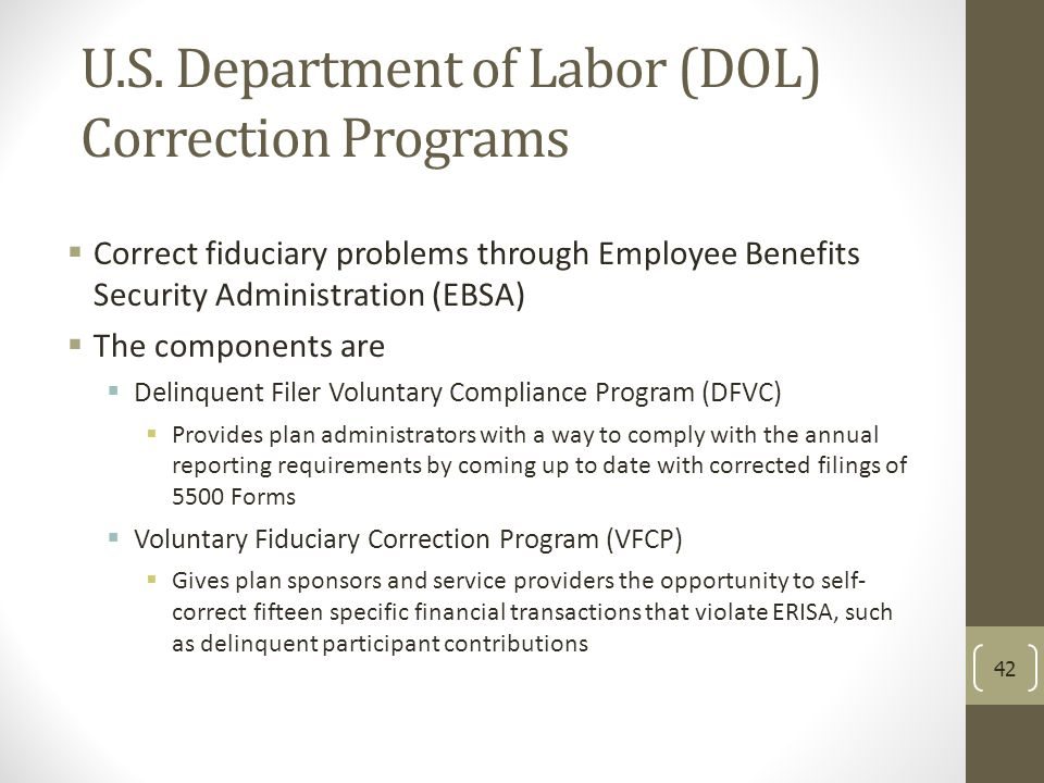 U.S. Department of Labor (DOL) Correction Programs