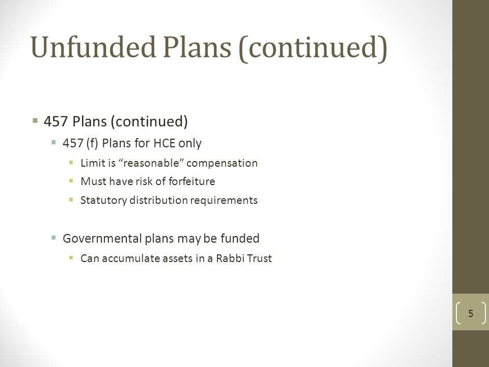 Unfunded Plans (continued)