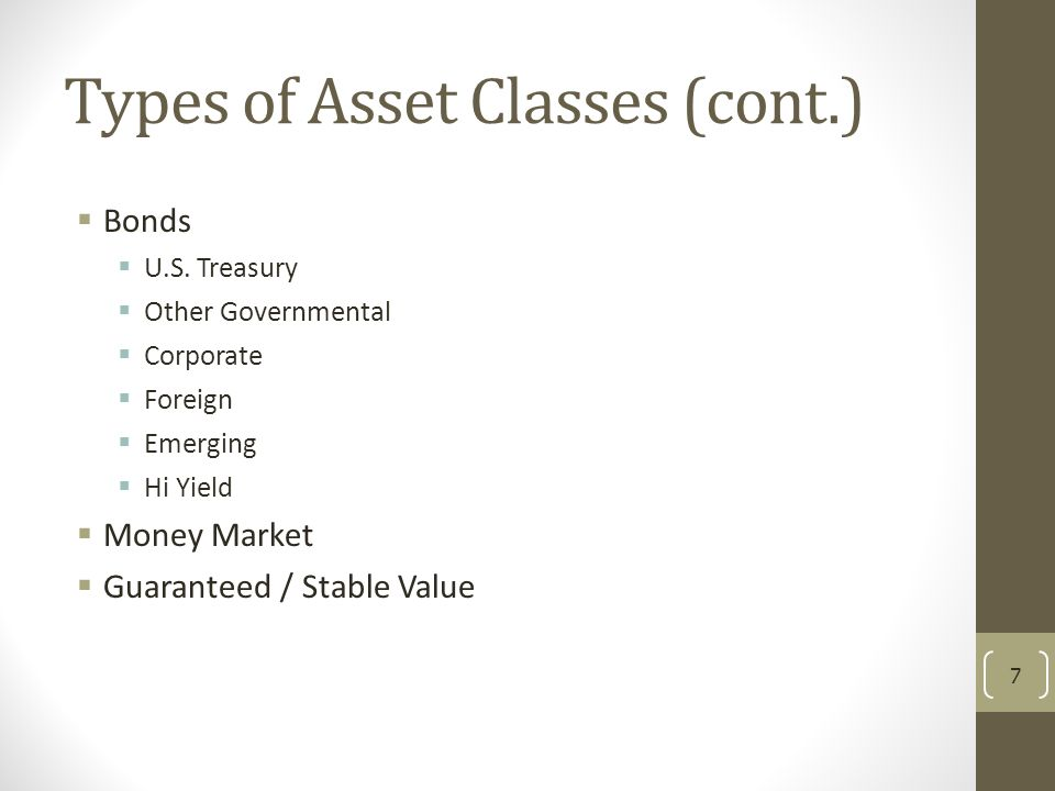 Types of Asset Classes (cont.)
