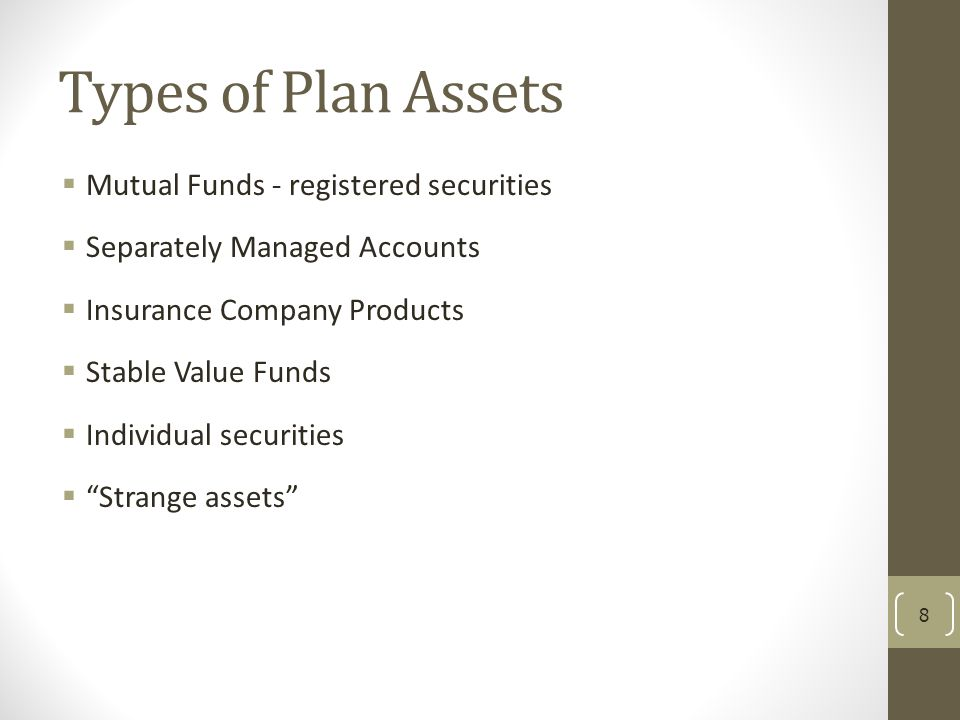 Types of Plan Assets Mutual Funds - registered securities