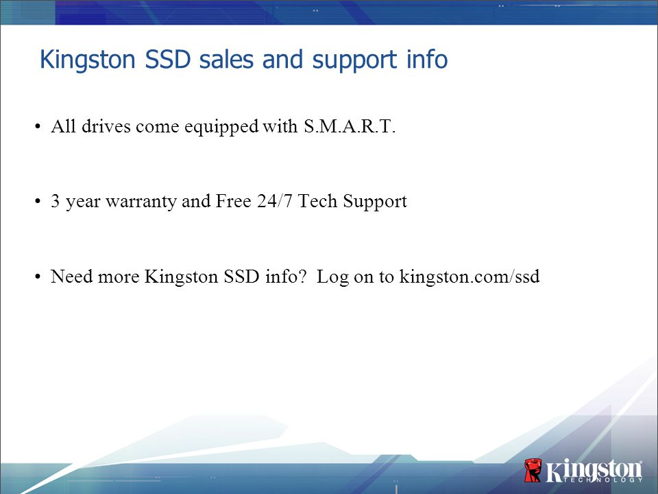 Kingston SSD sales and support info