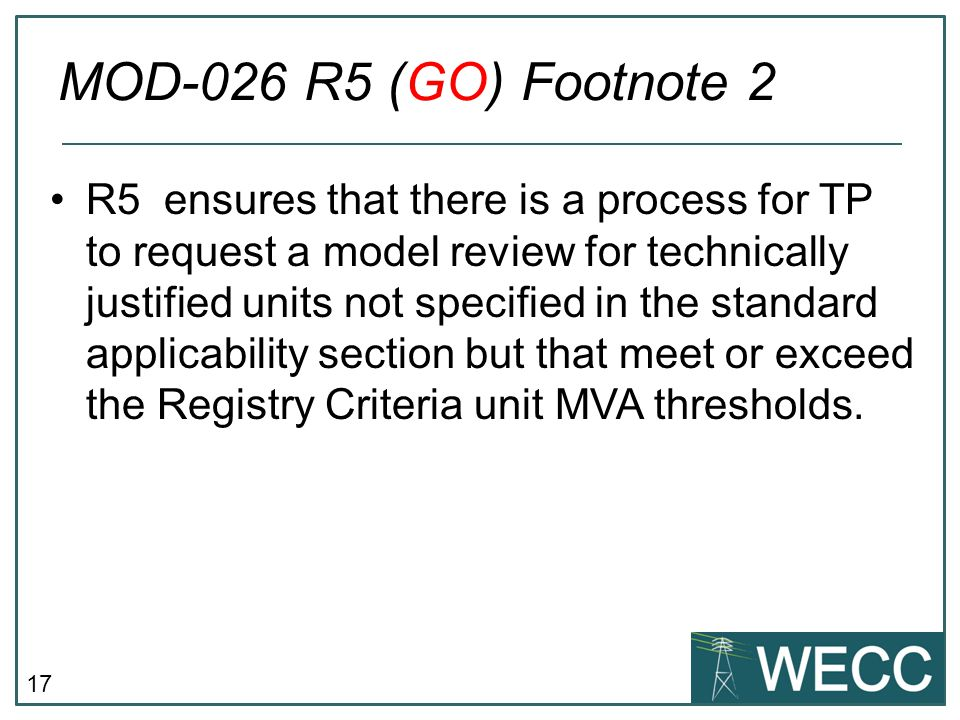 MOD-026 R5 (GO) Footnote 2