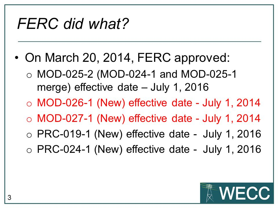 FERC did what On March 20, 2014, FERC approved: