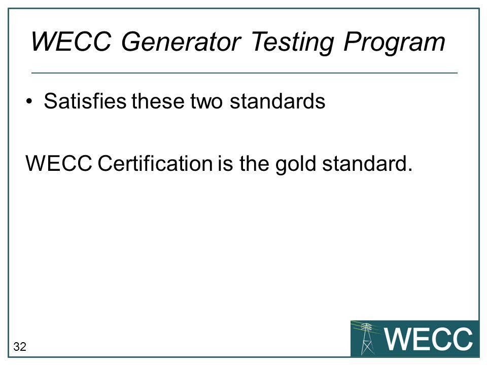 WECC Generator Testing Program