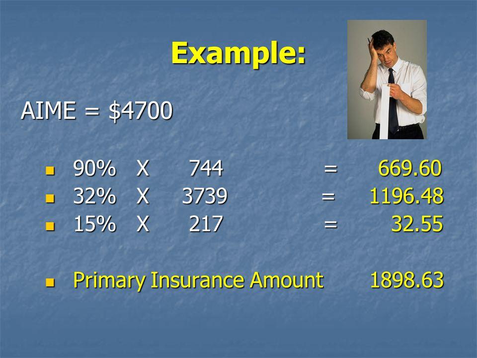 Example: AIME = $4700 90% X 744 = 669.60 32% X 3739 = 1196.48